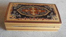 """CCOL Vintage Inlaid Wood Small Ring Box 4 1/8"""" Wide"""