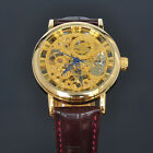 SOKI Gold Analog Hand Winding Mens Mechanical Wrist Brown Leather Band Watch