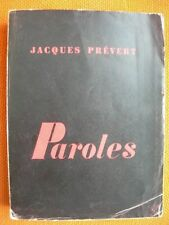 JACQUES PREVERT – PAROLES – NRF POINT DU JOUR – 1950 - POESIE