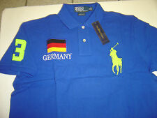 "NEW MENS RALPH LAUREN ROYAL ""GERMANY"" W/LIME LG PONY S/S POLO SHIRT SIZE XL $125"