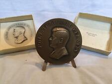 1961 JFK Official Bronze  John F. Kennedy Inauguration Medal with box and stand