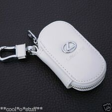 600- LEXUS LOGO MONOGRAM EMBLEM BADGE Key Leather Pouch Cover Case WHITE LX LSGS