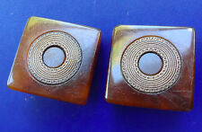 "vintage c. 1940s retro 0.9"" swirled amber lucite inlaid clip on earrings  -D428"
