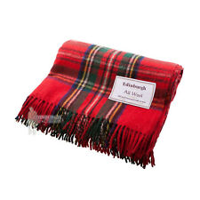 EDINBURGH - PURE WOOL SCOTTISH TARTAN RUG / BLANKET / THROW - STEWART ROYAL