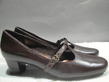 WOMENS 40 / 9 ECCO BROWN LEATHER MARYJANE FLATS KITTEN HEELS SHOES