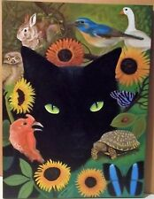 Black Cat Country Dreams Oil Painting Rabbit Turkey Turtle Art Wall Decor EBSQ