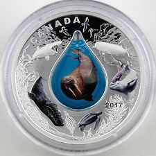 Canada 2017 $10 Canadian Underwater Life 1 oz Pure Silver Proof with Water Drop