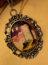 Gorgeous Floral Rimmed Doorway to Heaven Skyline Cameo Silvertn Pendant Necklace
