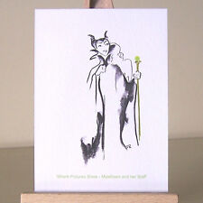 ACEO Maleficent Sleeping Beauty WDCC drawing villains Art Card