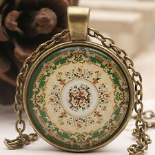 Vintage Flower Mandala Photo Cabochon Glass Bronze Chain Pendant DIY Necklace