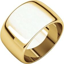 14K Gold Ring SALE! 12mm 14K Yellow White or Rose Gold Wide Cigar Band Dome Ring