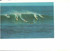 SURFING IN HAWAII RIDING THE BIG SURF OVERSIZE VINTAGE POSTCARD 1970 EXCELLENT