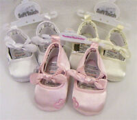 Baby Girl Satin Bow & Heart Shoes White or Lt Pink or Ivory 0-3 -3-6 -6-12 Month