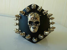 Mens/Womens leather Biker/Skull/Gothic/ quality black bracelet/wrist band-Unisex
