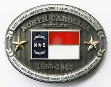 PATRIOTIC COWBOY WESTERN OLD NORTH STATE OF NORTH CAROLINA FLAG BELT BUCKLE