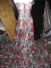 """1M  WHITE/BLACK & RED  FLORAL LYCRA STRECH LACE FABRIC 58"""" WIDE"""