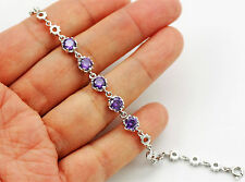 Pretty Solid 925 Sterling Silver, Purple amethyst  Bracelet/ Bangle  + BOX   61