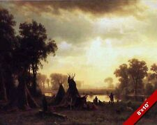 NATIVE AMERICAN INDIAN TRIBE CAMP CANVAS GICLEE POSTER ART PRINT OF PAINTING