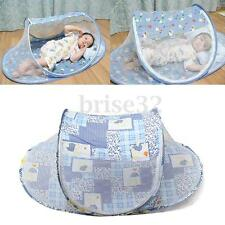 Summer Baby Cradle Bed Mosquito Insect Net Infant Cushion Mattress Tent Blue