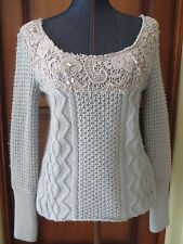 Free People Womens Low Scoop Neck Pullover Sweater Blue Lace Rhinestones NWT SM