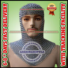 Chainmail Coif Aluminum V-neck Anodized Aluminium Chain mail Hood Armor Costume