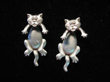 """JJ"" Jonette Jewelry Silver Pewter Small 'CAT 3-D' Pierced Earrings"