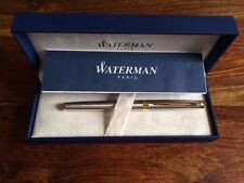 Waterman Hemisphere Essential Stainless Steel Gold Trim - Med Point Pen S0920330