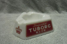 Tuborg Imported Beer Ashtray Milk glass made in France Red logo Danish Crown