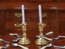 Gold Candlesticks Pair, Doll House Miniature, Lighting Table Accessory, 1.12th