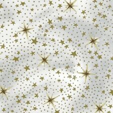 NATIVITY GOLD STARS CHRISTMAS FABRIC METALLIC