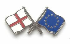 England & EU European Union Flags Friendship Courtesy Enamel Lapel Pin Badge