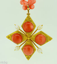 IMPORTANT 1970s ZOLOTAS Red Coral & Natural Saltwater Pearl Necklace in 22K Gold