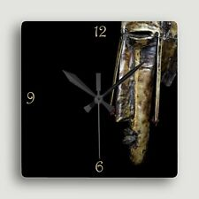 Marka Mask ~ SQUARE WALL CLOCK / Compelling African Art Design