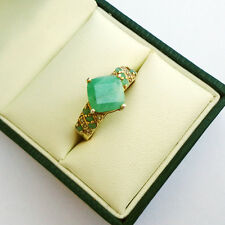Gorgeous Amazonite on Gilded Sterling Silver Ladies Ring UK Size: N; US - 6 3/4