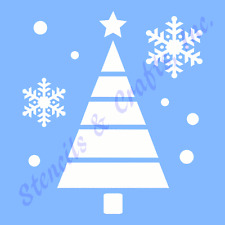CHRISTMAS TREE STENCIL SNOWFLAKES DOTS CIRCLES SNOWFLAKE CRAFT PAINT PATTERN NEW