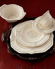Antique White Dinnerware Set 20 Piece China Bowls Plates Dishes Cups Kitchen