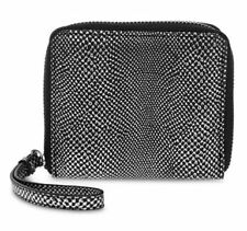 BNWT Authentic LIZ CLAIBORNE Zip Around Small Wallet Wristlet Pewter Python