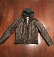 GUESS LEATHER JACKET BROWN HOODED MEN SZ SMALL