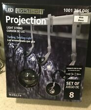 Gemmy LED LightShow Projection Swirling White Blanco Light String 8 Bulb 10.5'