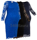 JOHN ZACK MATERNITY FITTING SLASH NECK STRETCH LACE BODYCON DRESS NEW 6 - 20