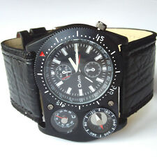 OULM Cool Military Army Leather Quartz Sports Wristwatches Hours Mens Black