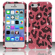 For Apple iPhone 5C Crystal BLING Hard Case Phone Cover Hot Pink Leopard