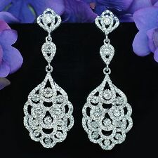 RHODIUM PLATED Clear Crystal Rhinestone Bridal Chandelier Ear-nail Earrings