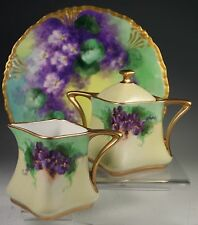 BEAUTIFUL  HAND PAINTED  CREAMER SUGAR AND PLATE SET