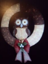 36 in. Pre-Lit Burlap Owl Wreath Holiday Christmas Outdoor Decor Lighted Yard