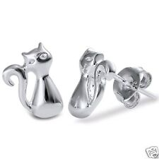 Silver Cat Stud Earrings Sterling Silver 925 Best Price Jewelry Gift 10mm