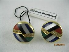 ASCH GROSSBARDT 14K YG DIAMOND, MOP, ONYX, LAPIS, CORAL, MALACHITE EARRINGS