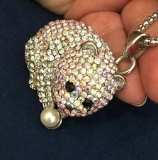 "Cute Little Crystal Rhinestone and Silver Tone PANDA Betsey Johnson Necklace 26"""