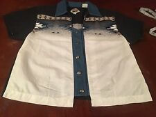 Womens Black CUMBERLAND OUTFITTERS Western Wear Shirt Sz L 90s Rodeo Country