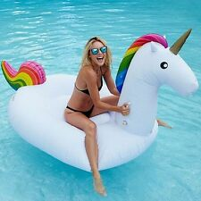 108'' Rainbow Inflatable Unicorn Floats Pool Water Raft Summer Holiday Water Toy